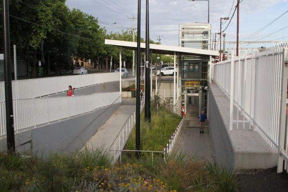 Completed subway ramp at the north side of Blackburn station