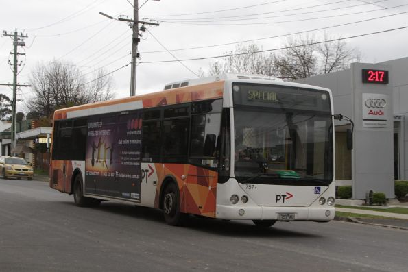 Transdev #757 1757O on a Blackburn-bound rail replacement bus service for the Blackburn Road level crossing removal project