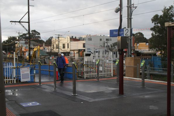 Bank of six temporary Myki readers in place at the down end Blackburn station exit