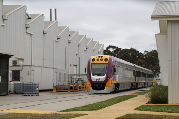 Freshly refurbished VLocity train VL24 waiting to be delivered to V/Line