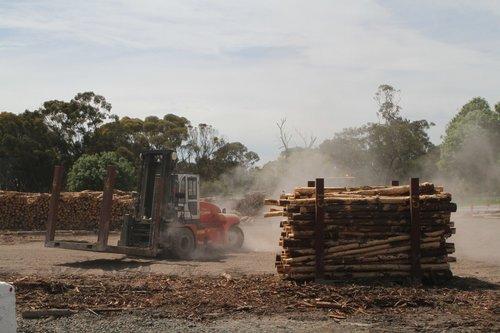 Forklift moves the empty log cradle for reloading