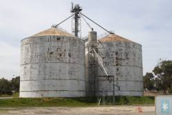 Steel grain silos at Bordertown