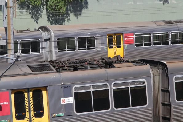 Pantograph in the down position on a failed EMU set