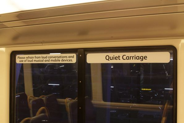 'Quiet Carriage' signage onboard a Queensland Rail train