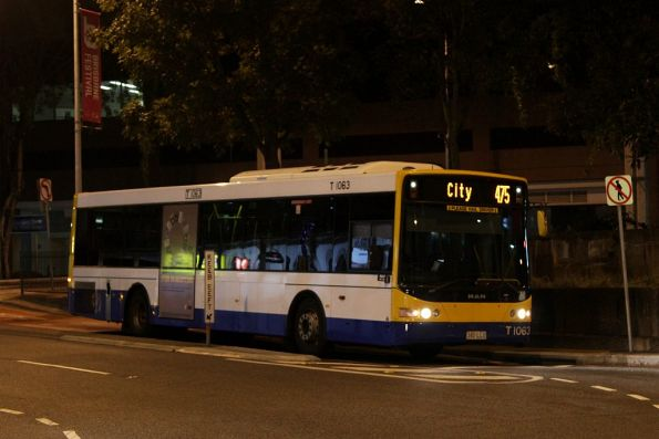 Brisbane Transport bus T1063 on route 475 in the Brisbane CBD