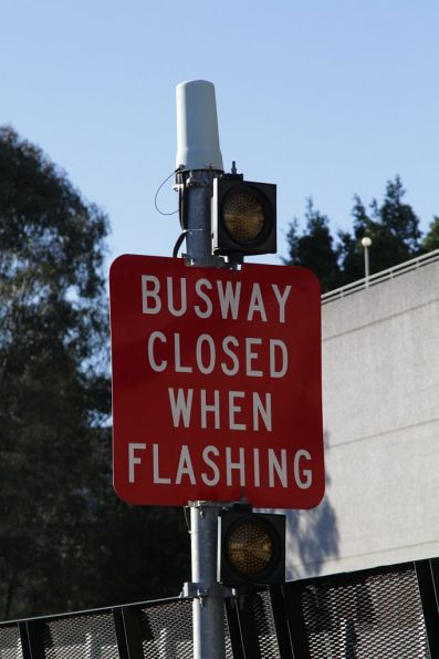'Busway closed when flashing' sign outside the city tunnel on the Northern busway at Roma Street