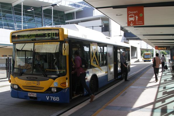 Brisbane Transport bus V768 on route 330 stops at Normanby station on the Northern Busway