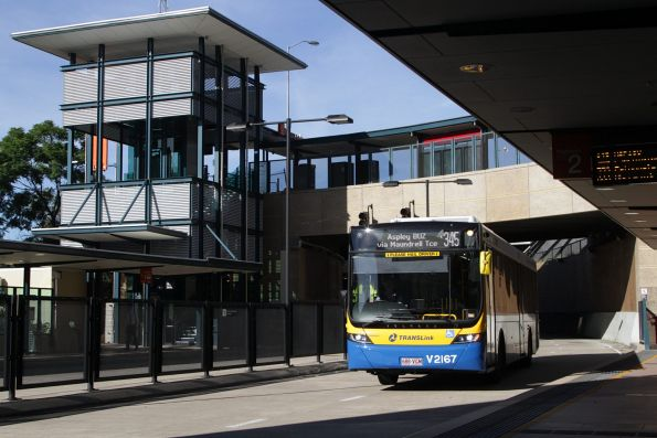 Brisbane Transport bus V2167 on route 345 stops at Normanby station on the Northern Busway
