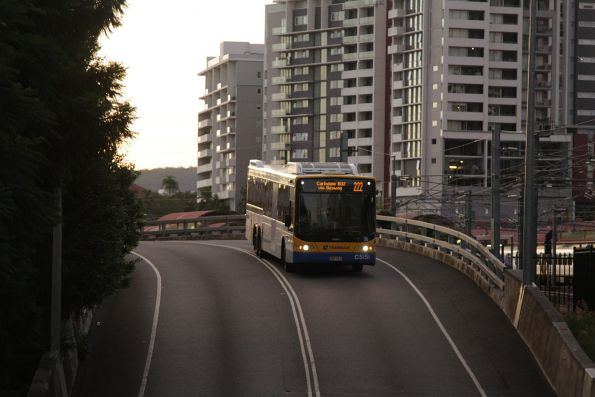 Brisbane Transport bus C5151 on route 222 enters the city tunnel on the Northern Busway near Roma Street