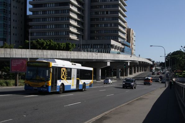 Brisbane Transport bus V737 on Bowen Bridge Road in Fortitude Valley