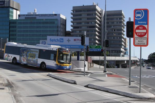 Brisbane Transport bus E2144 on route 375 leaves the Northern Busway at Bowen Bridge Road