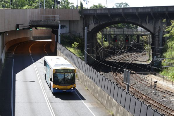 Brisbane Transport bus V832 on route 330 heads along the Northern Busway near Roma Street