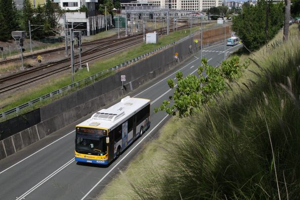 Brisbane Transport bus E2053 on route 330 heads along the Northern Busway near Roma Street