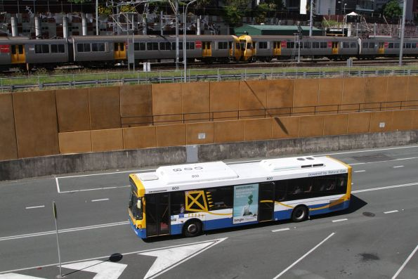 Brisbane Transport bus 800 heads along the Northern Busway near Roma Street
