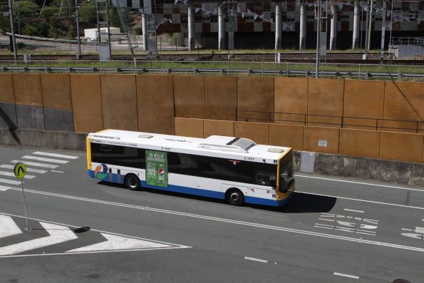 Brisbane Transport bus S1937 heads along the Northern Busway near Roma Street