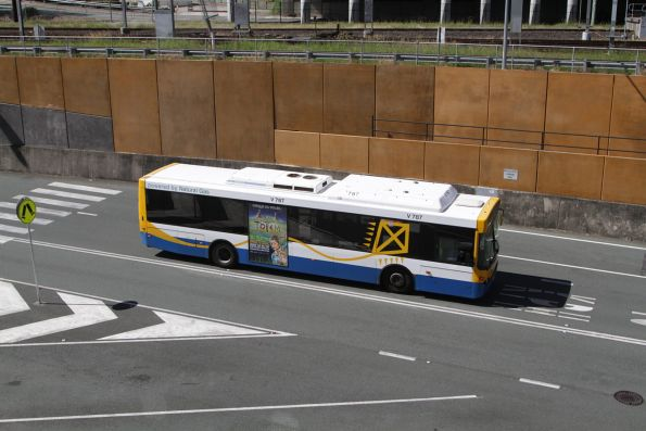 Brisbane Transport bus V787 heads along the Northern Busway near Roma Street