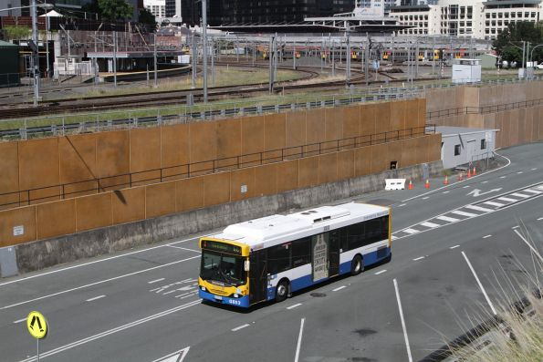 Brisbane Transport bus G653 heads along the Northern Busway on route 66 near Roma Street