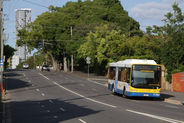 Brisbane Transport bus T1324 out of service on the edge of the CBD