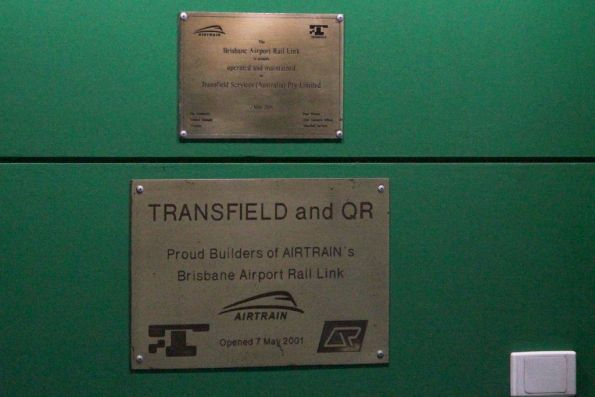 Transfield plaques at the entrance to the Airtrain station at Brisbane Airport's domestic terminal