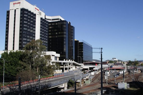 Looking across the Brisbane Transit Centre above Roma Street station