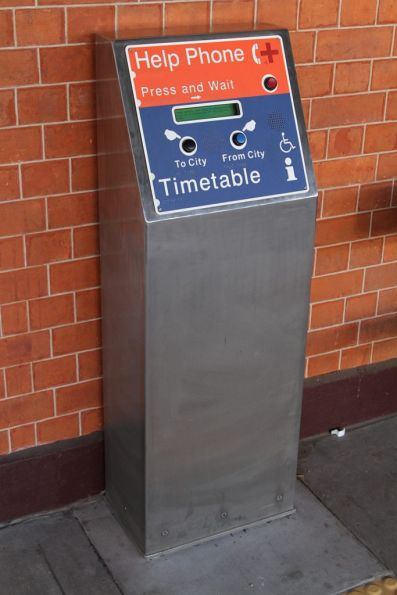 Timetable and help phone at South Brisbane station