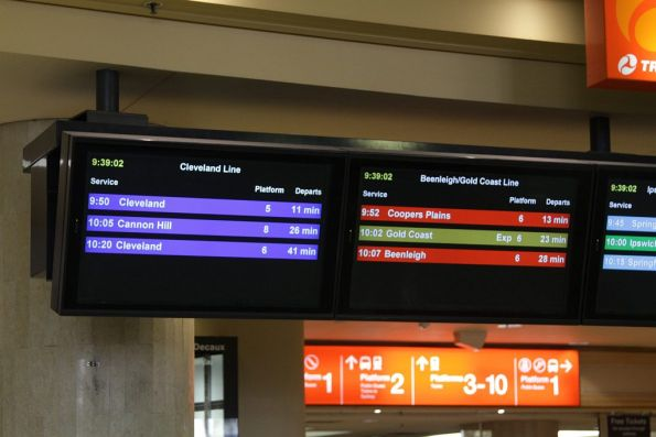 PIDS at Roma Street station - next trains for each line