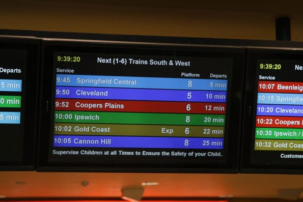 PIDS at Roma Street station - next trains for Southern and Western suburbs