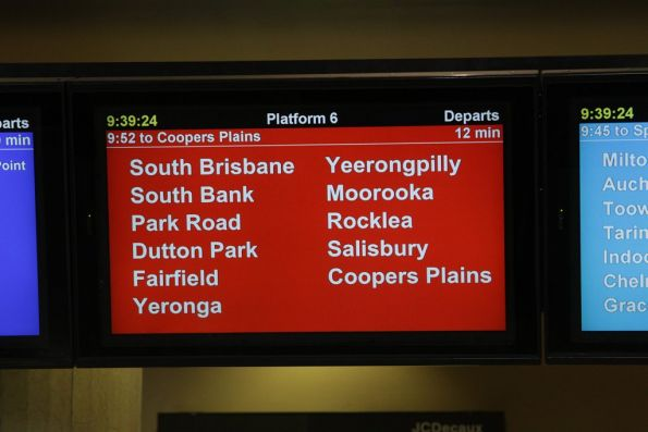 PIDS at Roma Street station - stopping pattern for the next train on platform 6