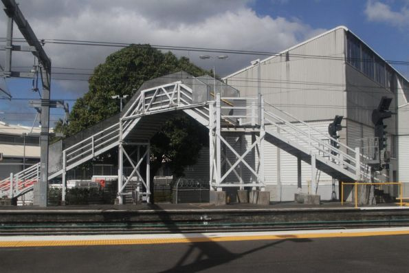 Footbridge crossing a single track at Northgate station