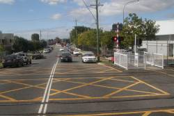 First level crossing on the railway north of Brisbane: Northgate Road in Northgate