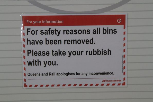 'For safety reasons all bins have been removed' notice from Queensland Rail at Fortitude Valley station