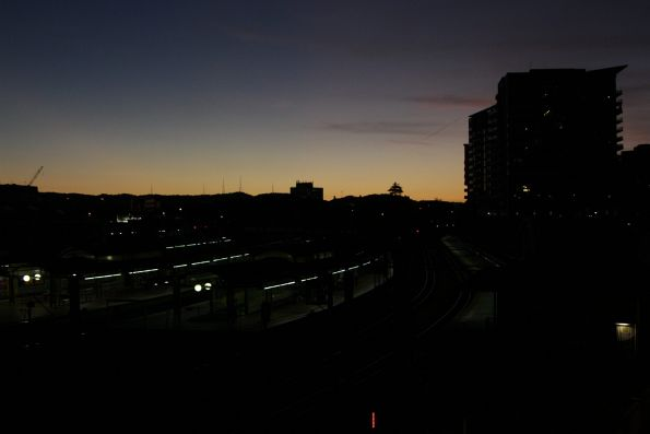 Looking west over Roma Street station at sunset