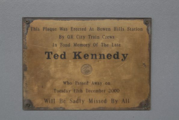 Plaque in memory of Ted Kennedy at Bowen Hill station
