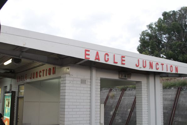 'Eagle Junction' sign on the station building at platform 1 and 2