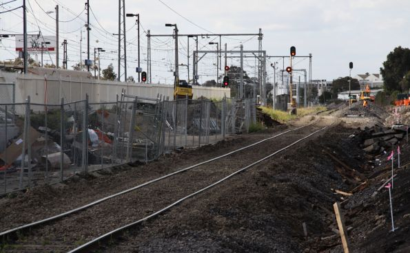 Slew of the SG line to permit construction of the new SG platform at Broadmeadows