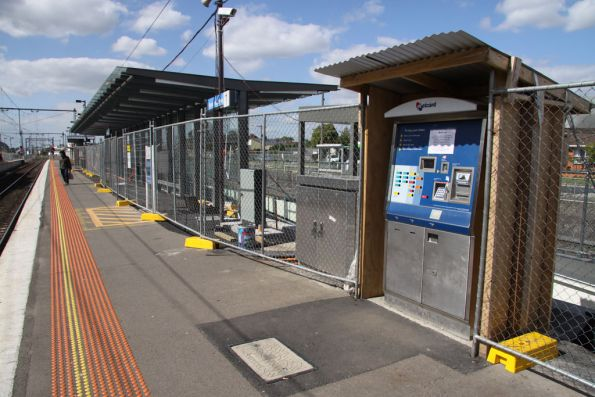Metcard machine and new glass shelter on Broadmeadows platform 1