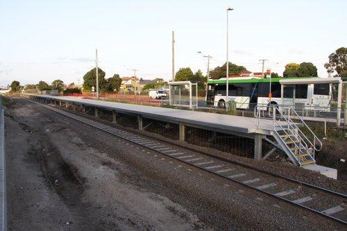 Looking down the new standard gauge platform at Broadmeadows