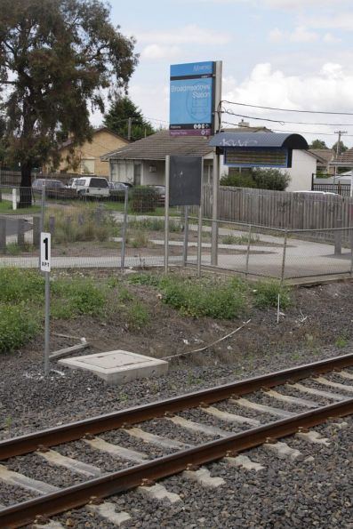 XPT stopping mark at the up end of the Broadmeadows standard gauge platform