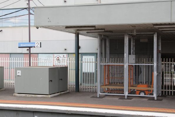 Luggage cart in a cage at Broadmeadows platform 2: presumably to take luggage over to platform 3?