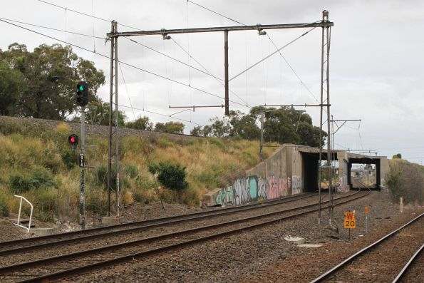 Standard gauge line passes over the suburban tracks at Jacana
