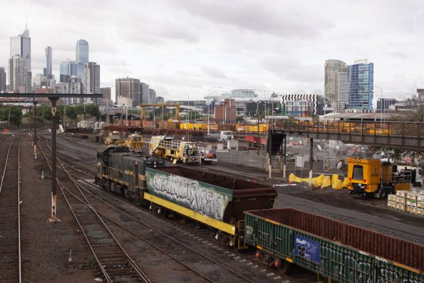 P22 waiting to depart the Wagon Storage Yard for Tottenham with wagons due for scrapping