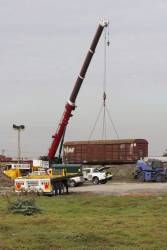 VLDX wagon being lifted up from the rails