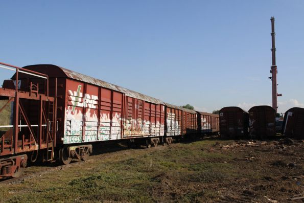 Wagons lined up in the tip siding awaiting their turn