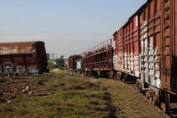 Wagons waiting to be lifted off the rails