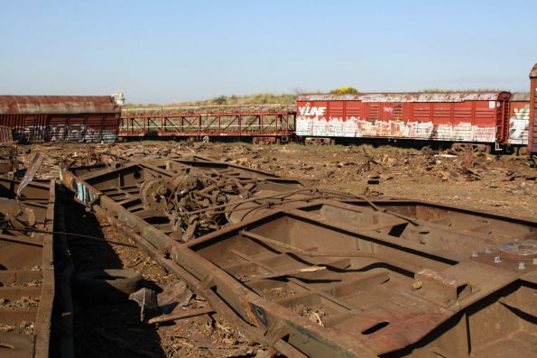 Upside down underframes, wagons still on the rails behind