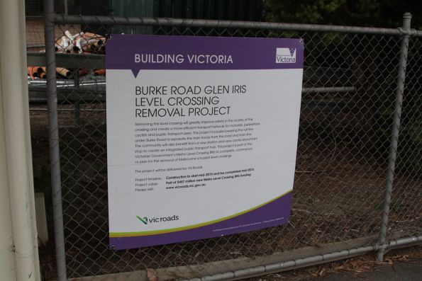 Signage for the upcoming grade separation of Burke Road at Gardiner station