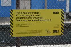 Government propaganda at Gardiner station, as grade separation works continue on the other side