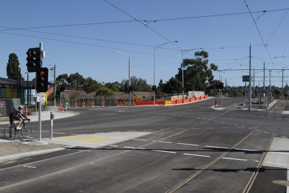 Rail passengers need to cross two separate roads in order to each the new route 72 tram stop on Burke Road