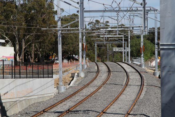 Up end of the new track alignment at Gardiner station