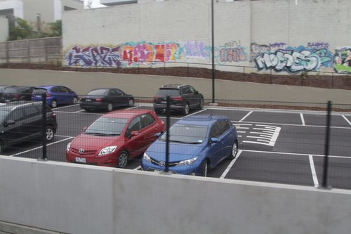 Plenty of empty spaces at the east end of the new Gardiner station car park